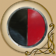 LARP RFB round shield black-red